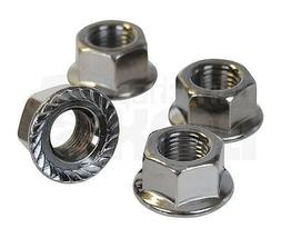"""BMX bicycle flanged axle nuts - SET OF 4 - 3/8"""" X 24T - SILV"""
