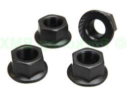 """BMX bicycle flanged axle nuts - SET OF 4 - 3/8"""" X 26T - BLAC"""