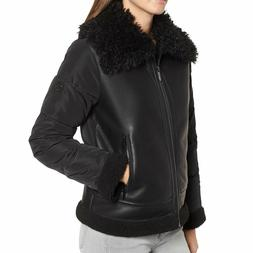Bernardo Women's Black Faux Leather Shearling Hybrid Jacket